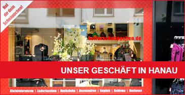 Eingang des Kofferschäppchen-Shops in Hanau